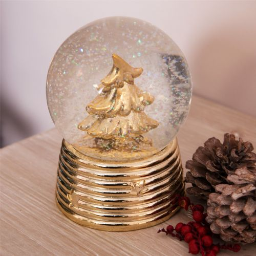 Gold Christmas Tree Snow Globe - Crystal Ball Polished Gold Christmas Ornament